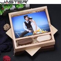 JASTER Personalizado Álbum de fotos Caixa de 170*170*35mm USB 2.0 GB GB 16 8 4GB GB 32 64GB Flash Drive Giratória De Madeira Usb Stick de Memória Flash