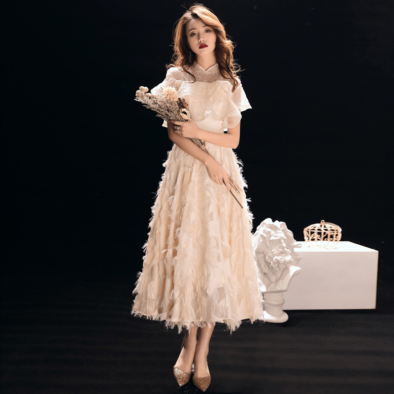 2020 Sale Cocktail Dress Bridal Toast 2020 New Autumn And Winter Banquet Elegant Mid Long Party Show Host Thin Evening Dress