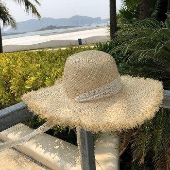 Straw hat female solid color summer foldable fisherman hat sun hat sunscreen beach sun hat фото