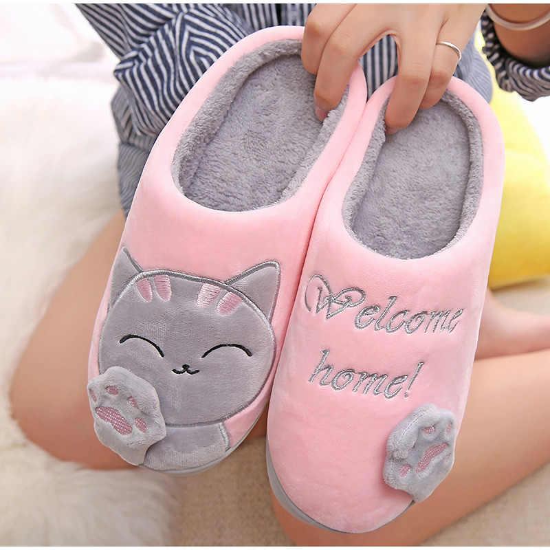 女性冬暖かいホームスリッパカップル靴女性の豪華な猫動物ソフト屋内フラッツコンフォート女性 & 男性プラスサイズ