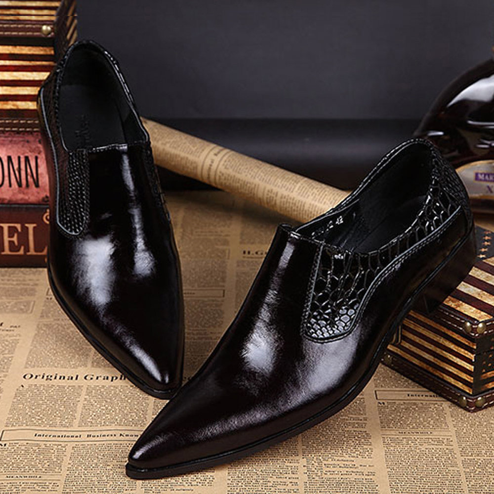 Men's Office Shoes Men Formal Wedding Shoes Elegant Leather Shoes Casual Wear Black Pointed Shoes Men's Business Leather Shoes