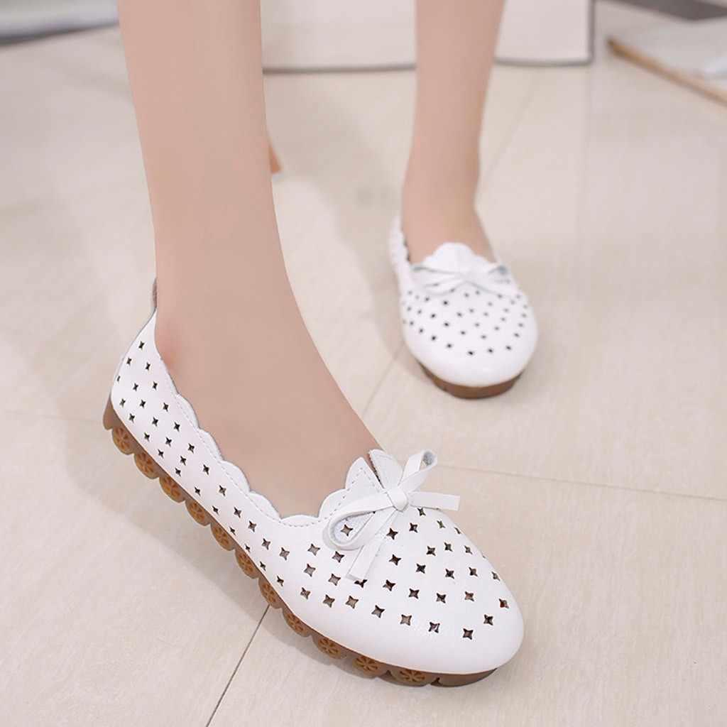 Femmes chaussures plates dames été paresseux chaussures respirant creux à lacets mocassins décontractés infirmière chaussures Bow trou chaussures plates #1228