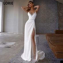LORIE White Mermaid Wedding Dresses Soft Satin Beach Bridal Gowns V-Neck Spaghetti Straps Luxury Beading Princess Party Gowns