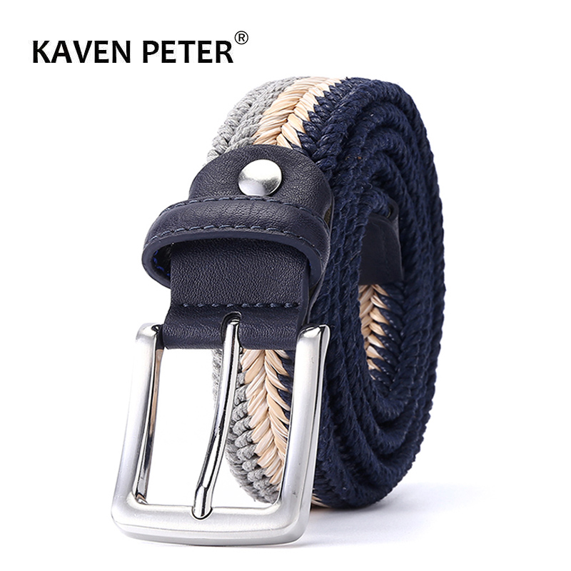 Woven Belt For Men With Wax Rope And Straw Pin Buckle Casual Braided Woven Belts 1-3/8
