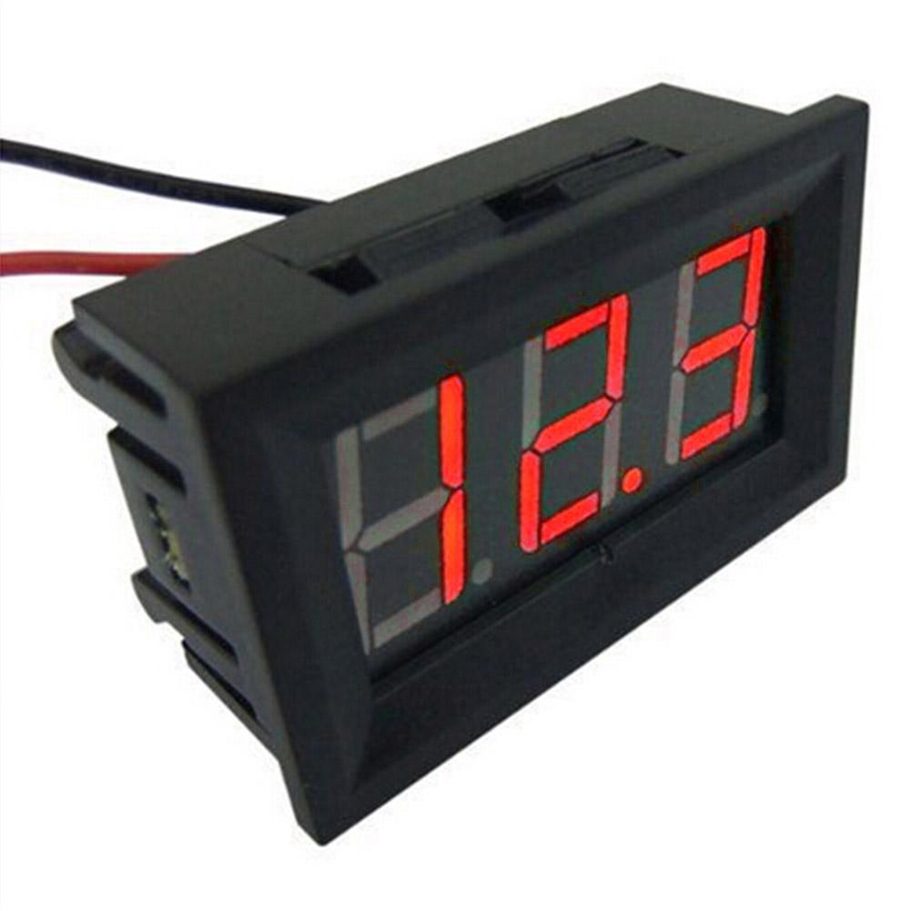 Voltímetro de batería para coche y motocicleta, Panel de pantalla Digital LED Mini DC 2,4 V-30V, 2 cables, 0.36in, medidor de voltaje de batería