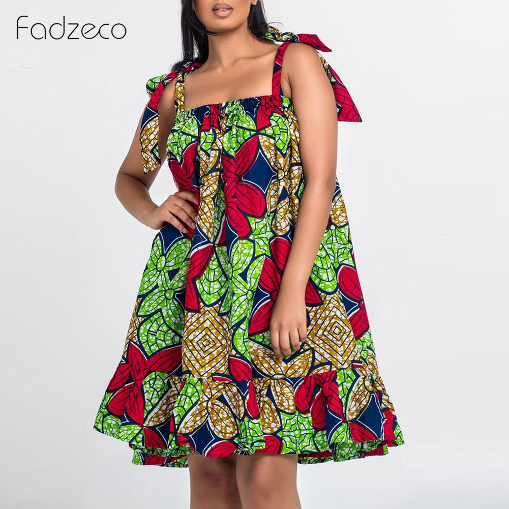 Fadzeco African Dresses For Women Dashiki Bazin Ankara Slip Dress African Print Sleeveless Ruffle Midi Dress Plus Size