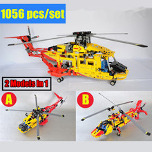 New 2 Model In 1 City Rescue Helicopter Deformable Technic Plane Building Blocks Bricks Diy Toy Gift Boys for Kid Birthday