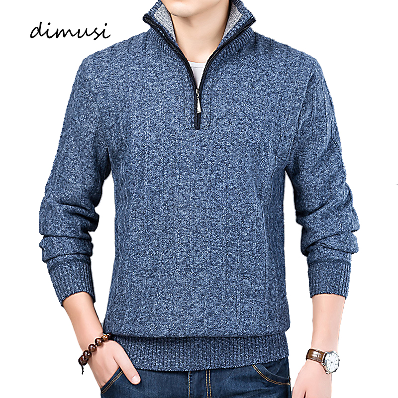 DIMUSI Winter Men's Sweater Casual Mens Solid Warm Turtleneck Sweaters Man Slim Stand Collar Knitted Pullovers Coats Clothing