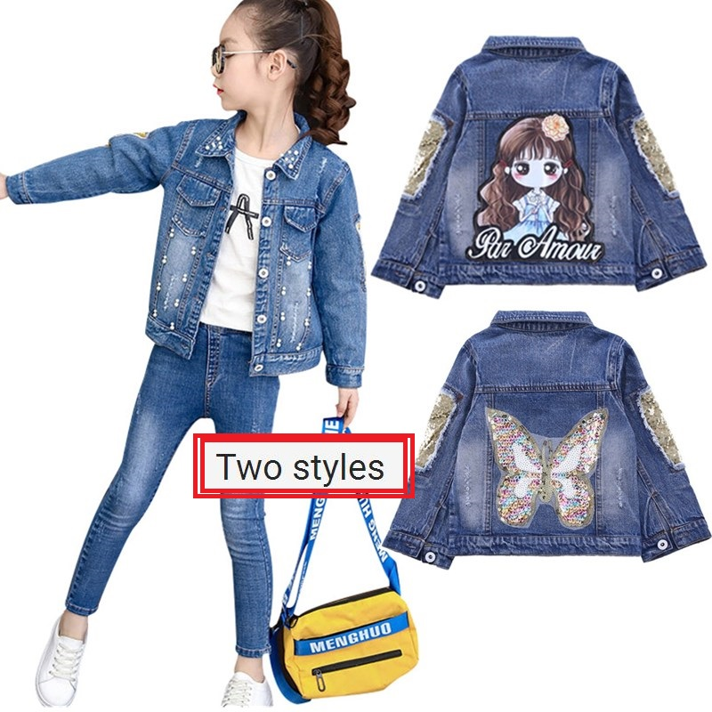 Girls Jackets Hole Cowboy Style Teens Outerwear Embroidery Fashion Girls Jackets Coats Children's Clothing Kids Jean Jacket