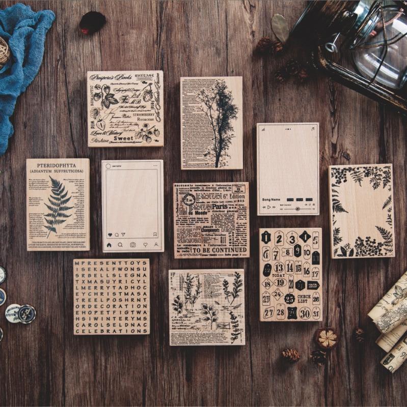 Retro English Letter Plant Alphabet Background Stamp Vintage DIY Wooden Rubber Stamps For Scrapbooking Stationery Standard Stamp