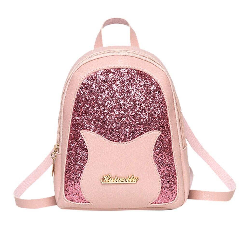 Mochila pequeña para niña 2019 bolso de hombro de lentejuelas brillantes de moda para mujer Mini-función Paquete trasero para chicas adolescentes niños # P