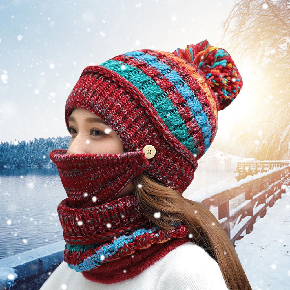 Clothing Accessories Multi-piece Scarf Suit Winter Ladies Wool Hat Scarf Set Plus Velvet Warm Knit Hat Cap Mask Mask Scarf Suit