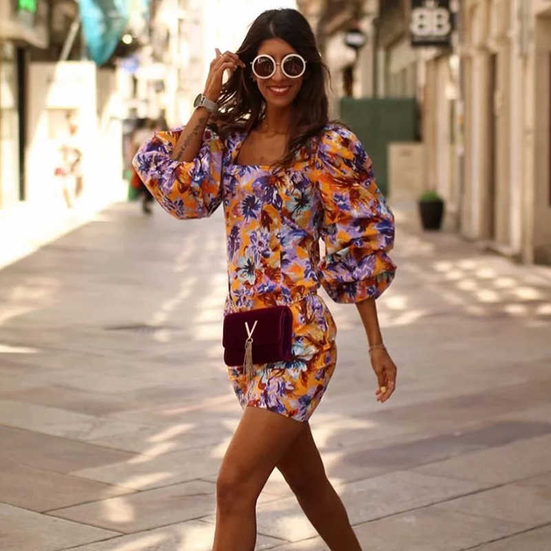 2019 Women Fashion Square Collar Boho Za Mini Dress Summer Female Chic Floral Print Puff Sleeve Holiday Beach Dresses vestidos
