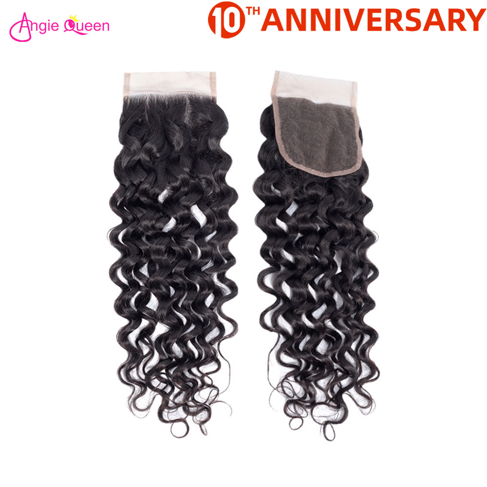 ANGIE QUEEN Water Wave Lace Closure Brazilian Hair Closure Remy Hair Lace Closure 150% Lace Closure 8-20 Inch Free Middle Part