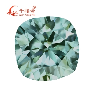 Image 2 - blue color  cushion shape dia mond cut Sic material  Moissanites loose stone