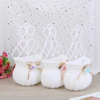 Artificial Flower Hanging Basket Vase Rattan Wall Hanging Small Artificial Rattan Flower Basket For Home Decoration Color Random 1