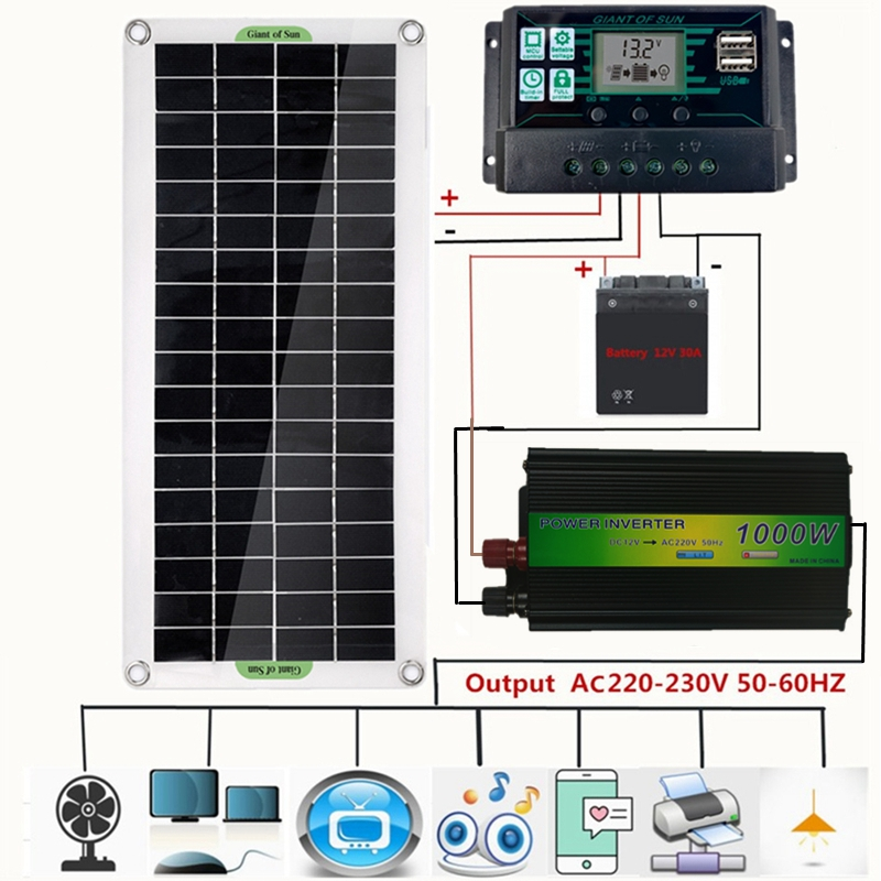 220v sistema de energia solar 30w painel solar carregador de bateria 220 inversor kit usb controlador completo casa grade acampamento telefone almofada