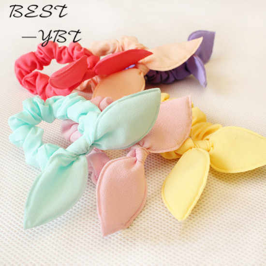 3 Pcs/lot Solid Color New Small Bunny Rabbit Ears Headband Hair Rope Rubber Bands Girls' Kids Cute Hair Accessories