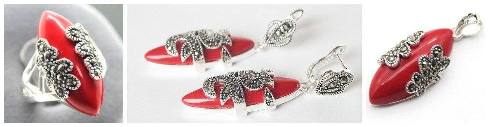 Unique rouge sculpté laque Marcasite 925 bague en argent Sterling (#7-10) boucles d'oreilles et Pandent ensembles de bijoux