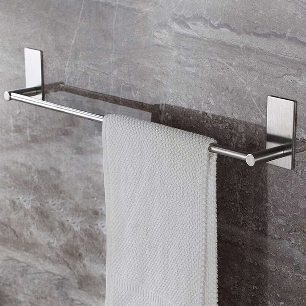 Stainless Steel Fixed Bath Towel Holder Bathroom Towel Bar Wall Mounted Towel Hanger Single Hook Dual Towel Racks 55/40CM