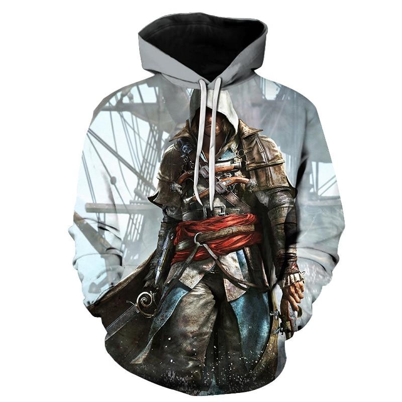 New Sale Assassins Creed Streetwear 3D Print Hoodies Men's Clothing Game Sweatshirt Men Long Sleeve Hip Hop Hoodie DropShipping