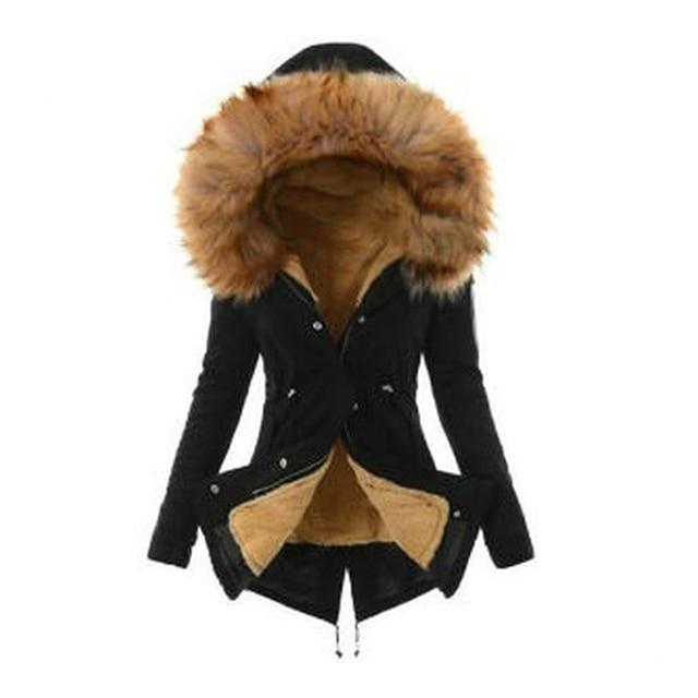 slim jackets coats for women female Solid hoody Thick jacket winter warm Liner plush zipper fur hooded outwear new