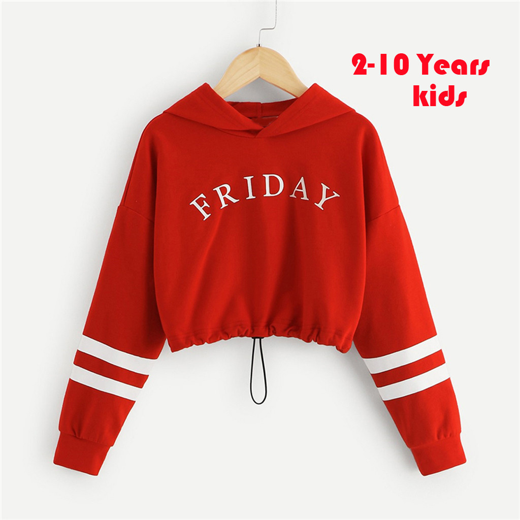 Baby Girls Sweatshirts Winter Teen Kids Girls Letter Stripe Print Hooded Sweatshirts Pullover Tops Clothes  Long Sleeves