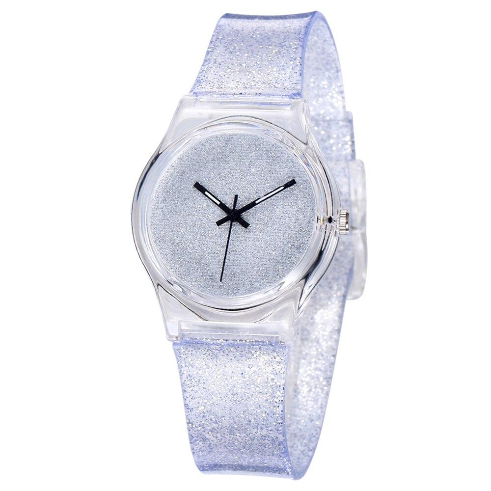 Children Princess Watches Creative Glitter Simple Silver Watch Korean Personalized Transparent Tape Cute Rubber Quartz Watch