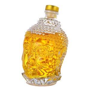 Image 4 - 750ML szklana butelka posąg buddy kryształ wody wino w butelce szklany kubek do wódka whisky napój szkło ślubne vasos de vidrio