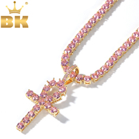 THE BLING KING 4mm Pink Ankh Cross Pendant Iced Cubic Zirconia Tennis Chains Gold Silver Color Necklace Fashion Hiphop Jewelry