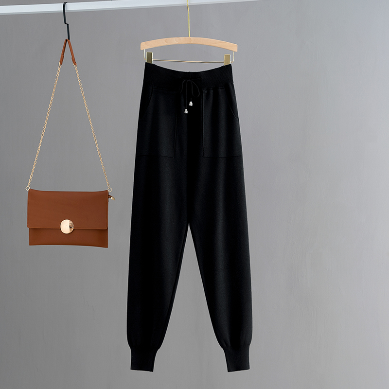 Hd0cf0faeab6141cca6aa899a8d1f129dZ - GIGOGOU Knitted High Waist Women Crop Harem Trousers Solid Peg Leg Fly Pants Casual Drawstring Winter Warm Workwear Carrot Pants