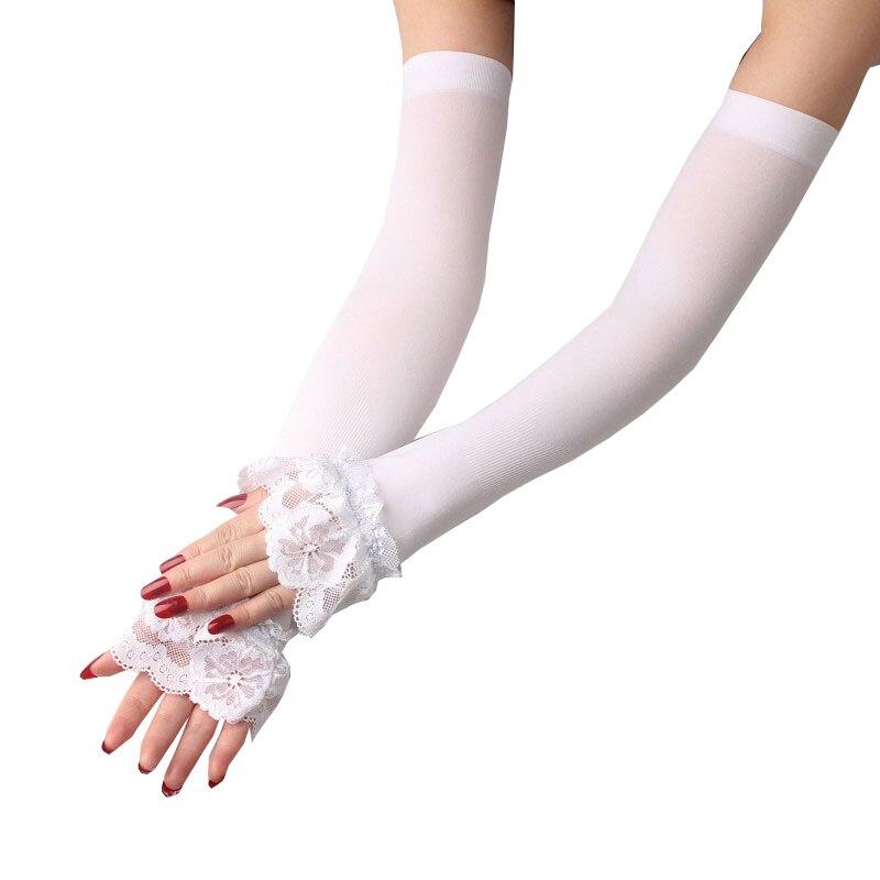 1 paar Elastische Hülse Fahren Handschuhe Lange Finger Eis Seide Spitze Arm Hülse Fäustlinge Abgedeckt Sommer Sonnencreme Spitze Handschuhe Frauen