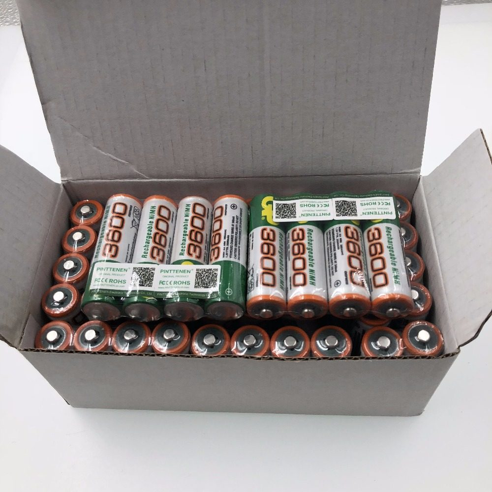 100% New AA 3600mAh 1.2v lithium ion rechargeable Li-ion Battery batteries and LED flashlight, free delivery