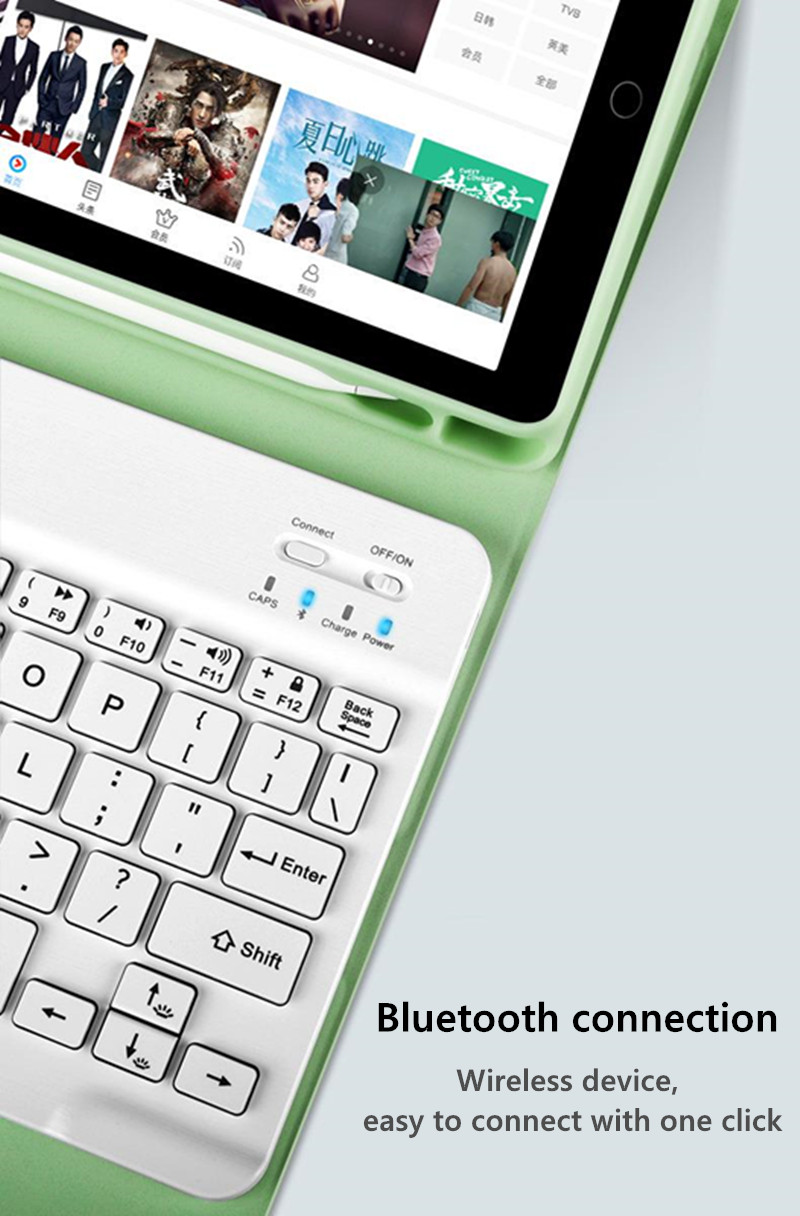 for Keyboard-Case 7th-Generation Bluetooth Pencil-Holder Cover Apple with iPad