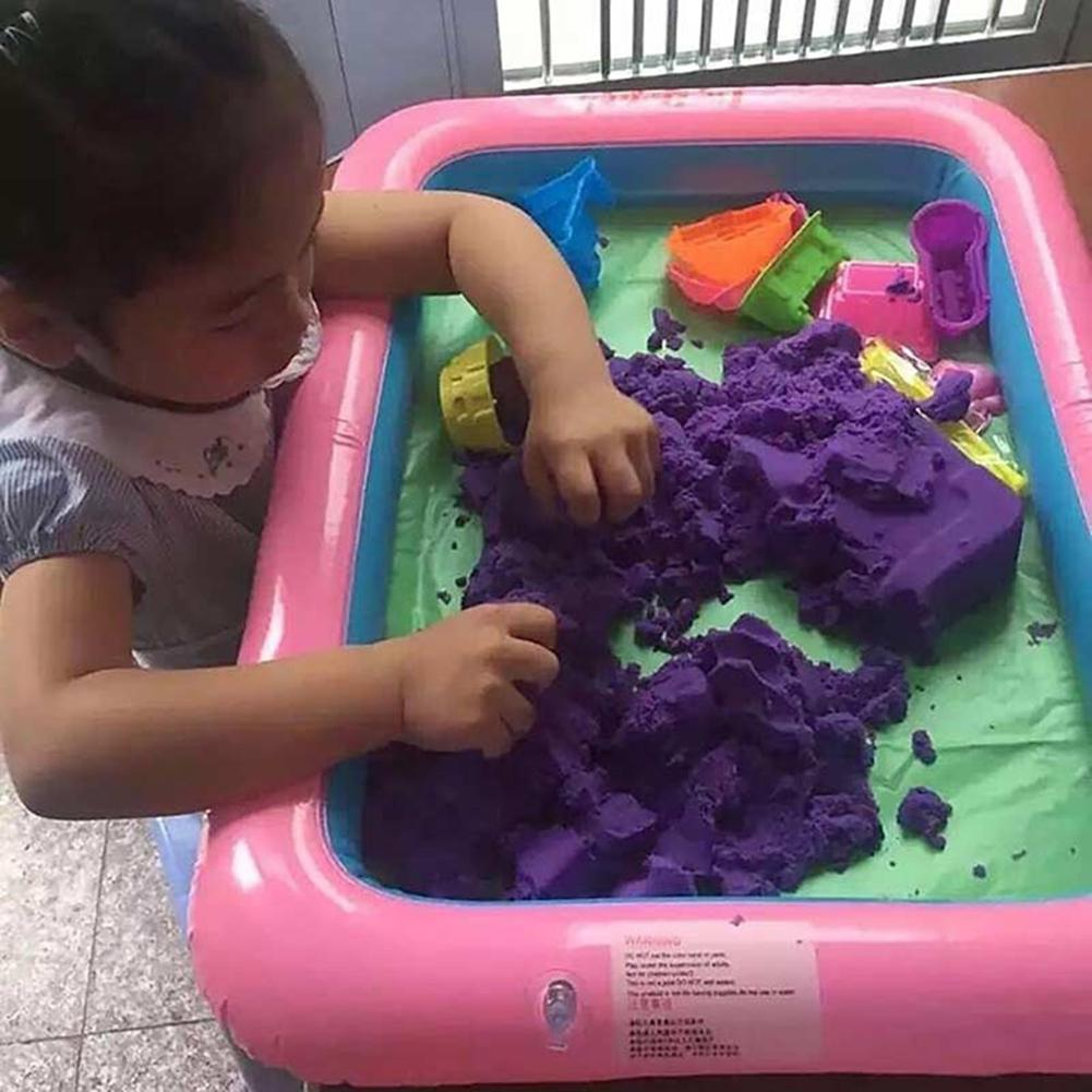 Funny Kids Sand Tray Square Inflatable Elevated Large Sandbox PVC Tray Castle Stacking Play Toys For Children  60cm X 45cm
