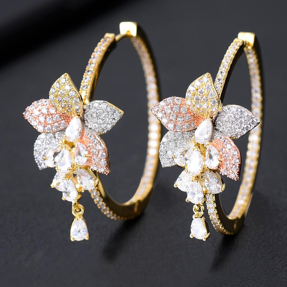 Image 2 - Женские серьги GODKI, большие серьги кольца с кисточками и цветком, 3 тона, с кубическим цирконием, для свадьбы, 2019Серьги-кольца   -