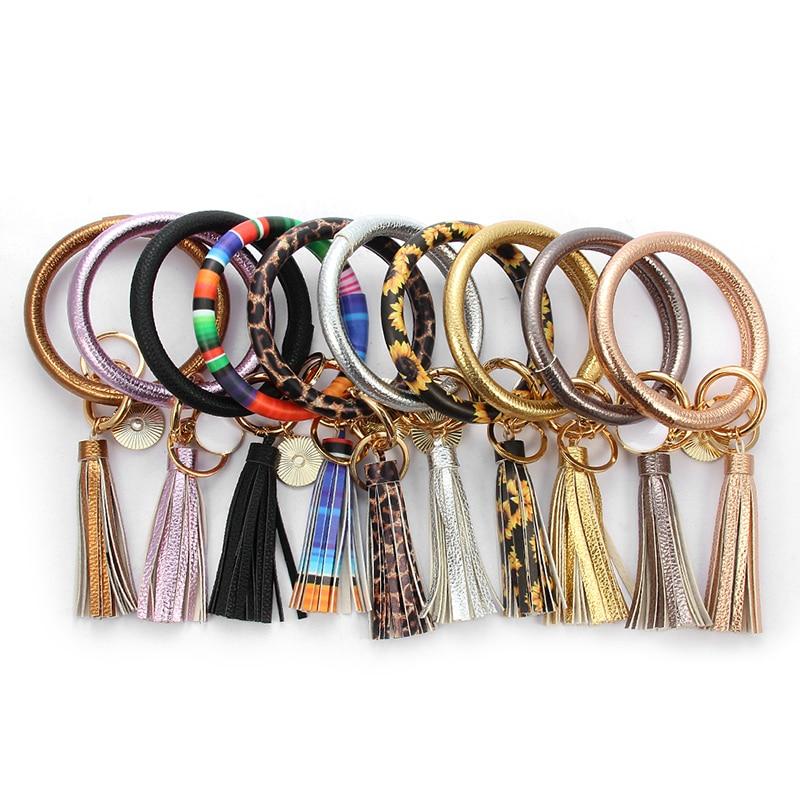 New Multicolors PU Leather O Key Chain Custom Circle Tassel Wristlet Keychains Women Girl Key Ring Wrist Strap