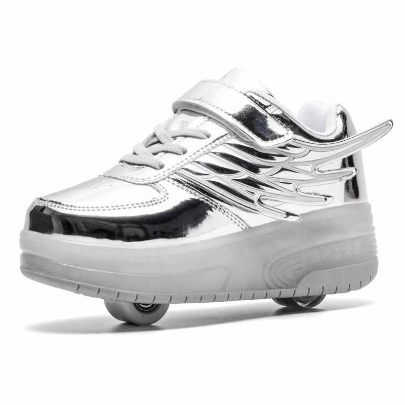Twee Wielen Lichtgevende Sneakers USB Opladen Led Roller Skate Schoenen voor Kinderen Kinderen Schoenen Jongens Meisjes Schoenen Licht Up heelys