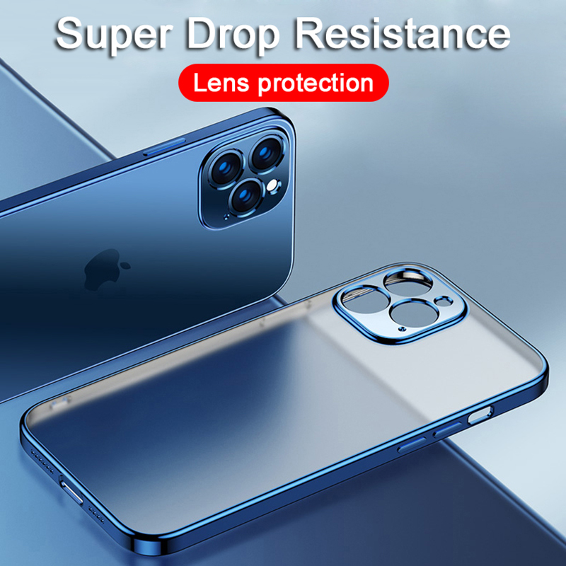 Luxury Plating Square Frame Transparent Case on For iPhone 12 11 Pro Max Mini X XS XR 7 8 Plus SE 2020 Soft Silicone Clear Cover