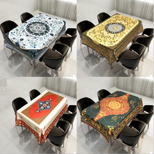2020 New Arrival Fashion Design Printed Decoration 140*140cm Size Customized Complex Geometric Pattern Home Textile Table Cloth