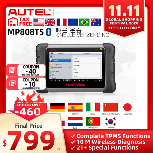 Autel MaxiPRO MP808TS Diagnostic Tool as MS906 and TS601 PK MK808 AP200 MK808TS Comprehensive TPMS Programming Fast Shipping