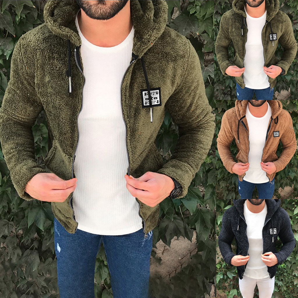Jacket Mens New Fashion Casual Zipper Loose Double-Sided Plush Hooded Chaqueta Hombre Plus Size 3XL Veste Homme куртка мужская