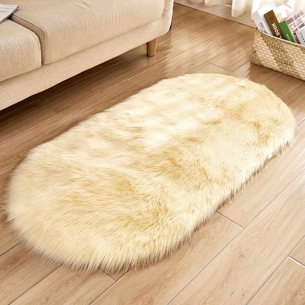 ソフト人工羊皮の敷物椅子カバー寝室マット人工毛深いカーペット席ウール暖かい織物毛皮エリアラグ # LR5