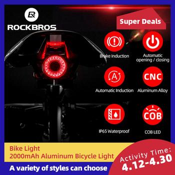 ROCKBROS-Światło rowerowe LED tylne inteligentne sygnalizujące hamowanie wodoodporne IPX6 z możliwością ładowania akcesoria rowerowe Q5 tanie i dobre opinie CN (pochodzenie) TL907Q5 Sztyc rowerowa Baterii Saddle Seatpost Aprox 55g (include holder) 40*34*34 mm 60 Lumen Brake Motion Light Sensing