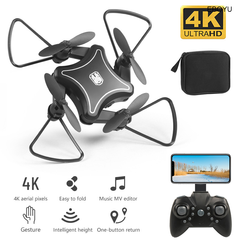 XKY KY902 Mini RC Drone 2.4Ghz RC Fold Drone Wifi FPV 4K HD Camera Selfie Drone Altitude Hold &Headless Mode RC Quadcopter Drone image