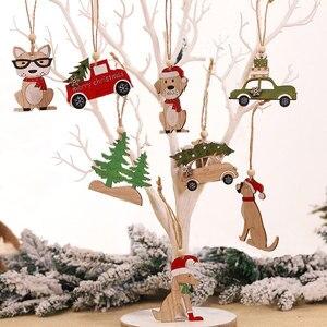 Image 4 - 2021 Navidad Noel ağacı araba dekor ahşap asılı kolye Elk Noel süslemeleri ev için yeni yıl Noel doğum günü hediyesi