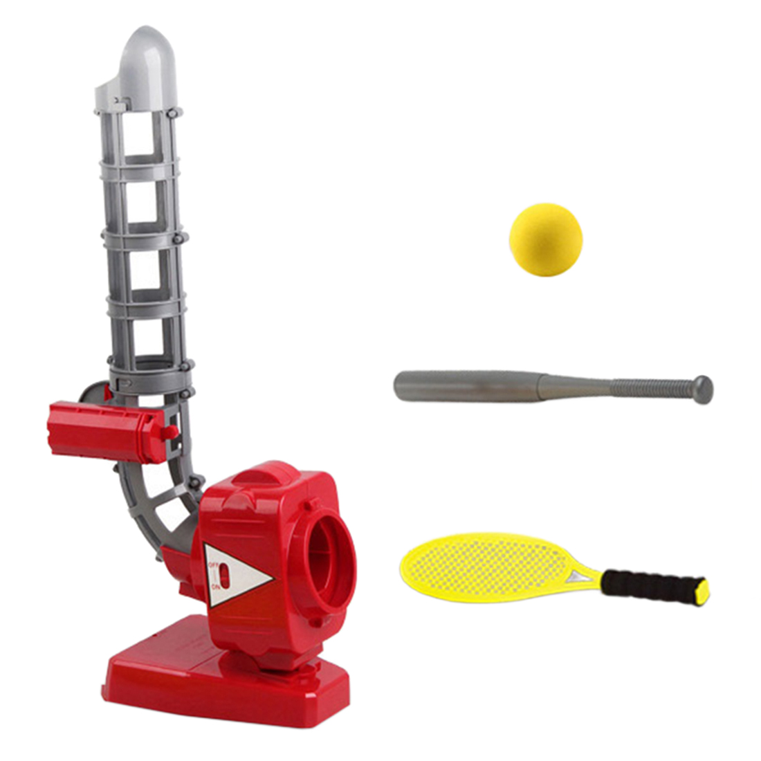 QC033-17 2-In-1 Children Baseball Automatic Pitching Machine Indoor Outdoor Toys Parent-Child Family Fun For Kids - Red Yellow
