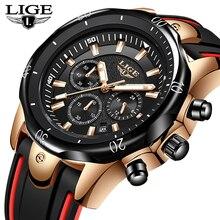 2019 LIGE new Silicone bracelet men watches top luxury brand business Quartz watch waterproof Date clock Relogio Masculino