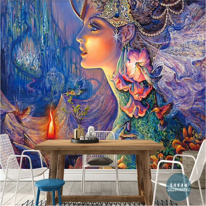 European Ancient Myth Legend Background Wall Paper 3d Wonderland Dream Country Goddess Mural Wallpapers For Living Room Walls 3d Wallpapers Aliexpress