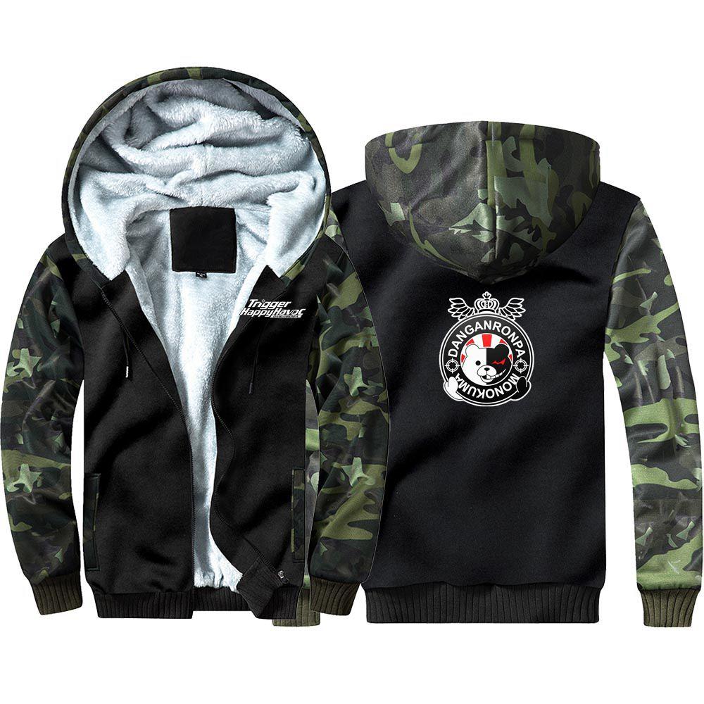 Danganronpa Trigger Happy Havoc Camouflage Hoodie Sweatshirts Winter Thicken Hooded Coat
